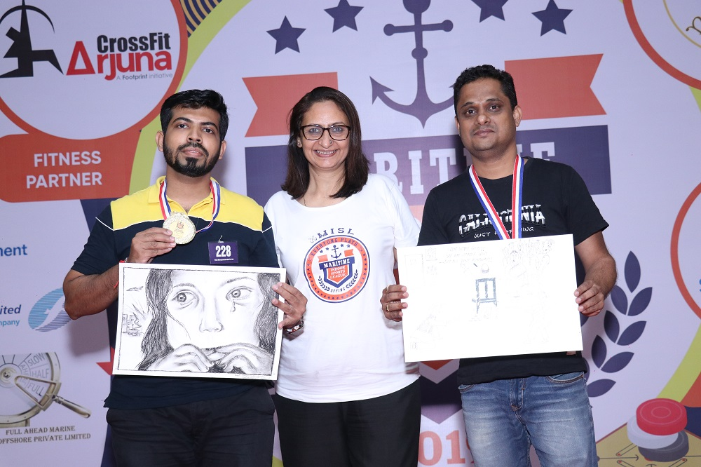 Sketching Contest - Winner Swapnil Satish Harne from Fleet Management Limited & Runner -Up Dinesh Pednekar from MSC Agency ( India) Pvt Ltd
